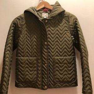 J.Crew Girls' light short coat. Olive green. Sz 12